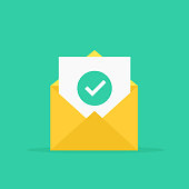 Envelope and document and round green check mark icon. Vector illustration