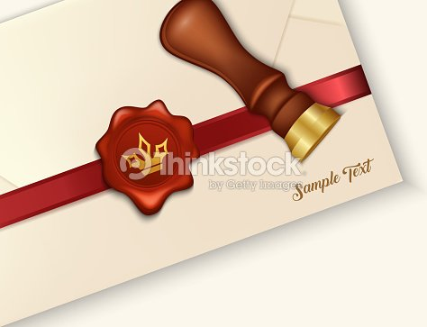 envelope and red wax seal with wax seal stamp vector art thinkstock