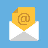 White envelope with yellow document with at sign. Email address, e-mail box, incoming message concepts. Modern flat design vector icon
