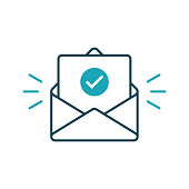 Envelope with confirmed document. Vector outline icon