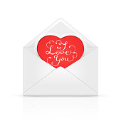 Open envelope mail with Valentines lettering I love You on red heart, illustration.