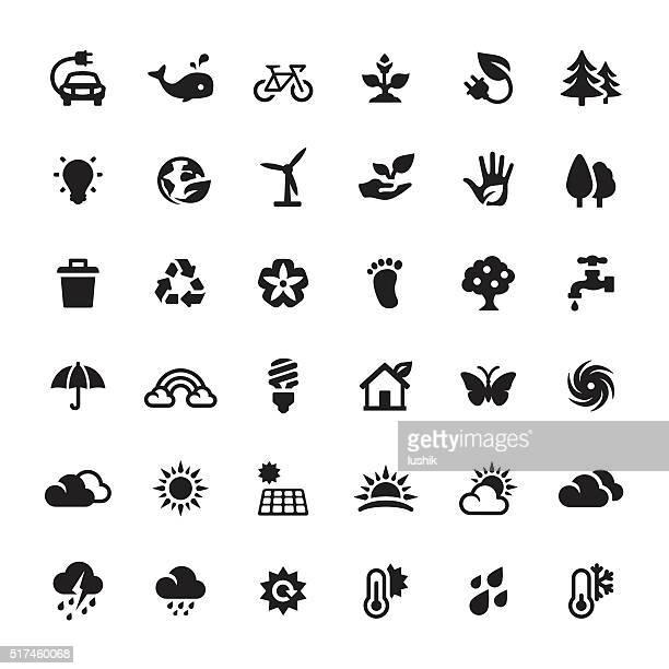 Umweltschutz und Alternative Energie-Vektor Symbole und Symbole