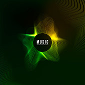 Equalizer concept. Design of music background. Audio wave vibrant effect. Digital color sound curve pattern. Vector illustration