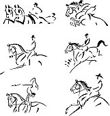 Simplified silhouettes of olympical and competitive equestrian sports: combined driving, show jumping, dressage, eventing (military), equestrian vaulting and western riding.  For emblems, invitations,