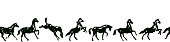 Vector pattern background or frame with hand drawing galloping black horses on white.