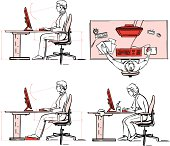 Four vector images showing a person working on PC and the right and false posture at the work.