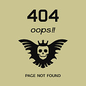 Error 404 oops page not found. Vector banner