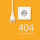 404 Error, page not found. Connection error. Electrical outlet and plug disabled, concept. Vector illustration flat design.