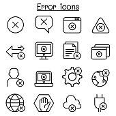 Error icon set in thin line style
