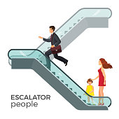 Escalator moving staircase consisting of endlessly circulating steps driven by motor, conveying people between floors of public building vector businessman, mother and child