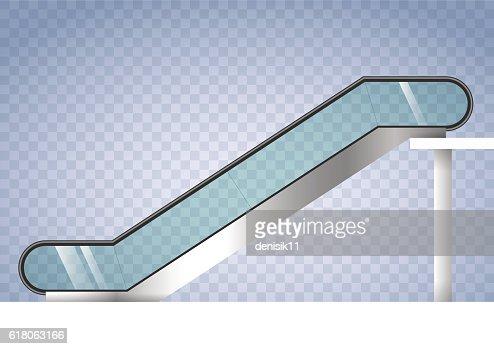 Escalator with transparent glass : stock vector