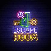Escape Room neon sign, bright signboard, light banner. Quest Room  logo neon, emblem. Vector illustration.