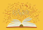 Espanol. Translation 'Spanish'. Open book with language hand drawn doodles and lettering. Education vector illustration.