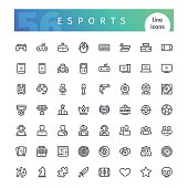 Set of 56 cyber sports line icons suitable for gui, inventory, resurses in apps. Isolated on white background. Clipping paths included.