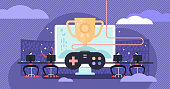 Esports vector illustration. Flat tiny virtual computer games persons concept. Competition online play equipment. Entertainment console team vs gaming group players. Winning hobby cup in championship.
