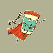 Espresso coffee cup superhero character, color vector illustration