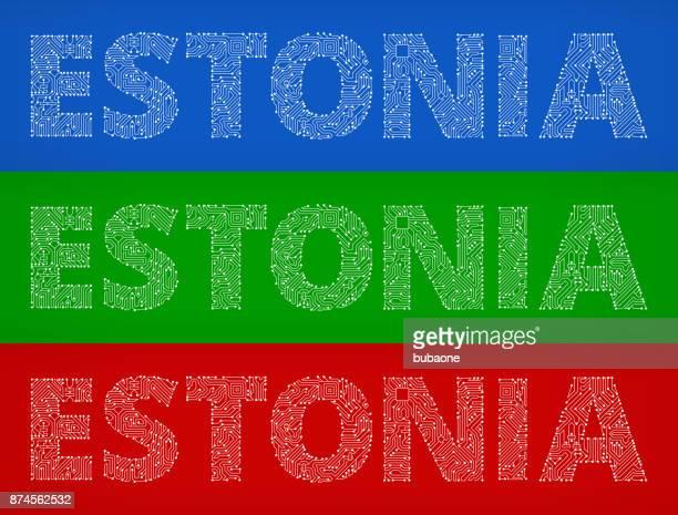 Estonia Circuit Board Color Vector Backgrounds