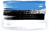 Estonia colorful brush strokes painted national baltic country Estonian flag icon. Painted texture.