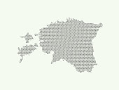 Estonia vector map illustration using binary digits or numbers on light background to mean digital country and advancement of technology