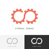 Eternal engine - gear wheel or pinion and infinity symbol. Perpetuum mobile, industry and mechanical engineering vector icon.