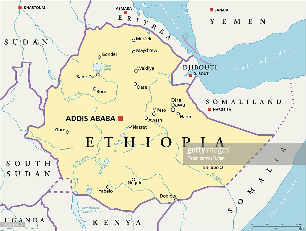 Ethiopia Political Map Vector Art Thinkstock