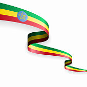 Ethiopian flag wavy abstract background layout. Vector illustration.