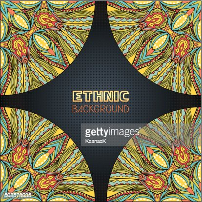 Ethnic Background With Corner Elements : Vector Art