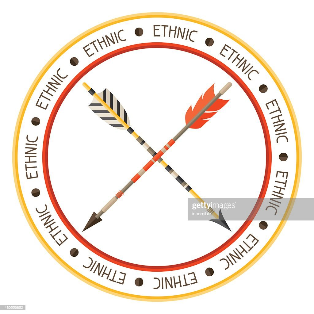 Ethnic background with indian arrows in native style : Vector Art