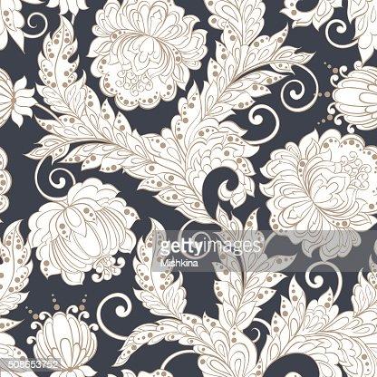 ethnic flowers seamless vector pattern : Vector Art