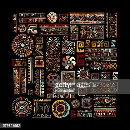 Ethnic handmade ornament for your design : stock vector