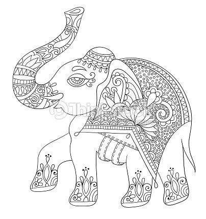 Elefante Indio étnica Línea Original Adultos Para Colorear Bo Arte ...