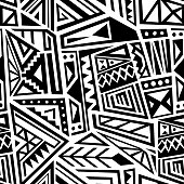 Ethnic geometric pattern - seamless boho style vector texture in black and white.