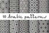 Ethnic islamic pattern set. Seamless vector geometric background in arabic style