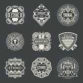 Ethnic Tribal Insignias Logotypes Template Set. Line Art Vector Elements.