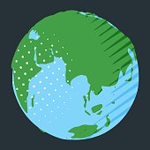 Eurasia continent on globe in comic style with polka dot and stripes as geography concept