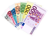 Euro banknotes on a white background. Vector illustration.
