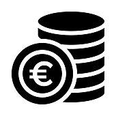 euro coin thin line vector icon