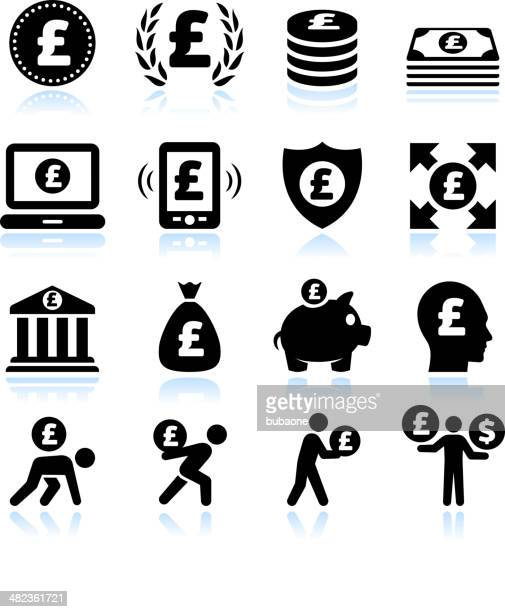 Euro Finance and Money Black & White vector icon set