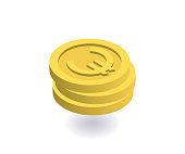 Euro icon. Pile of gold coins with euro sign. Vector illustration in flat isometric 3D style.