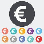 Euro. Single flat icon on the circle. Vector illustration.
