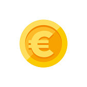 Euro currency symbol on gold coin, money sign flat style vector illustration isolated on white background