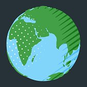 Europe, Africa and Asia on globe as abstract illustration of nature environment in simple flat style with comic dots and stripes