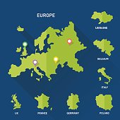 Europe and Europeian countries map vector illustration on blue background