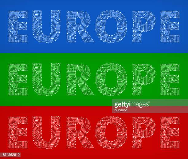 Europe Circuit Board Color Vector Backgrounds