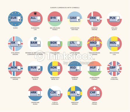 Europe Currencies With Symbols And Flags Vector Art Thinkstock
