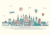 Europe detailed skyline. Vector line illustration. Line art style. Travel and tourism background