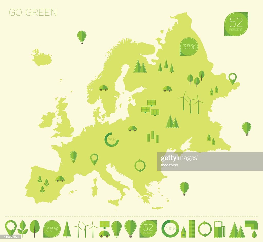 Europe high detailed map ecology green flat icons : Vector Art