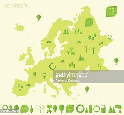 Europa hoch Detaillierte Karte Ökologie grünen flache Symbole : Vektorgrafik