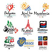 Europe logo. Logo Europe: Spain, France, Greece, Macedonia, Bulgaria, Slovenia. Logos of European countries, drawn by hand  paint. Logo for travel agencies. Travel, holidays in Europe, icon, symbol
