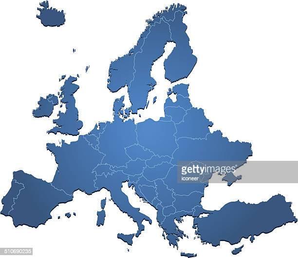 Europe map blue on white backgrpund